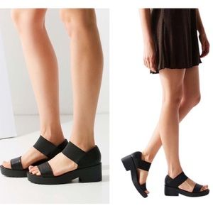 Urban Outfitters Black Jaycen Sandals Block Heels